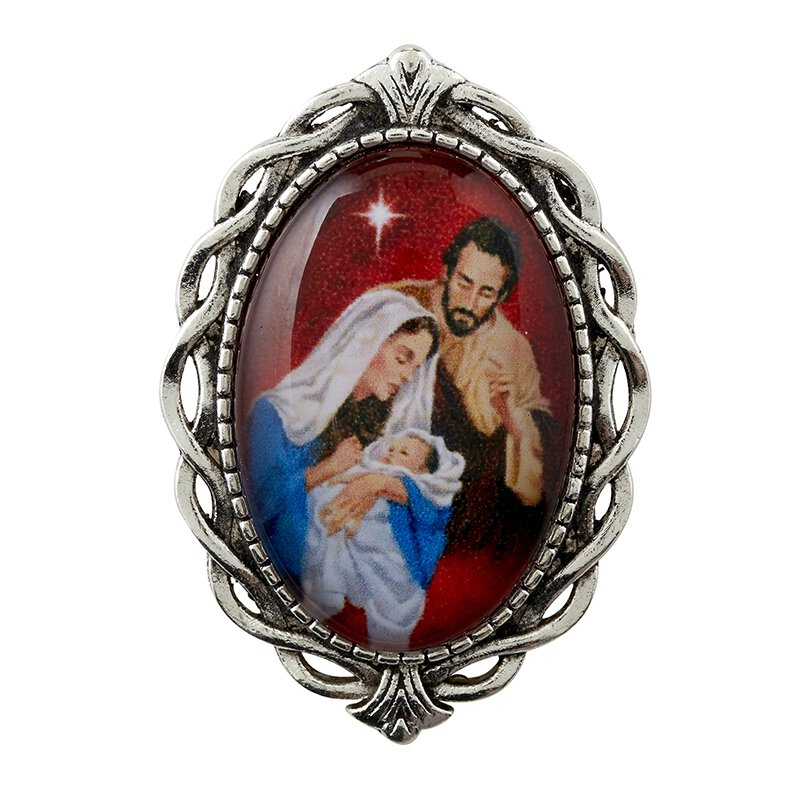 Nativity Ornate Lapel Pin - Red - 12/pk