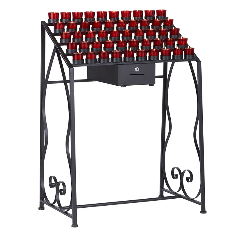 Votive Stand with Locking Offering Box - 50-Cup