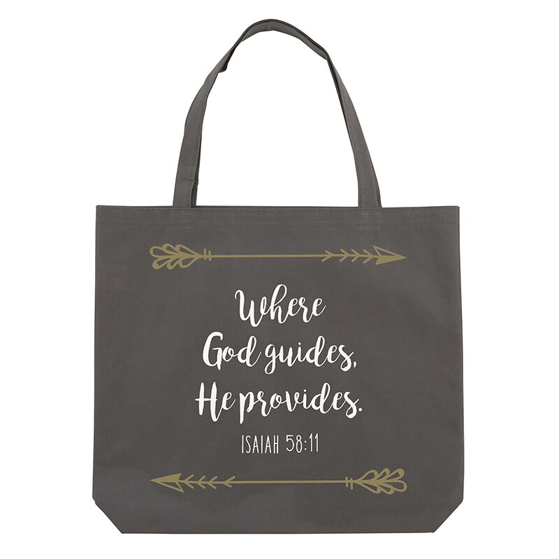 Where God Guides, He Provides Tote Bag - 12/pk