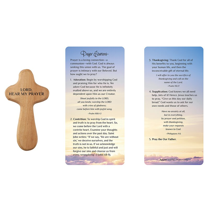 Hand-Held Prayer Cross with Card - Prayer Starters - 12/pk