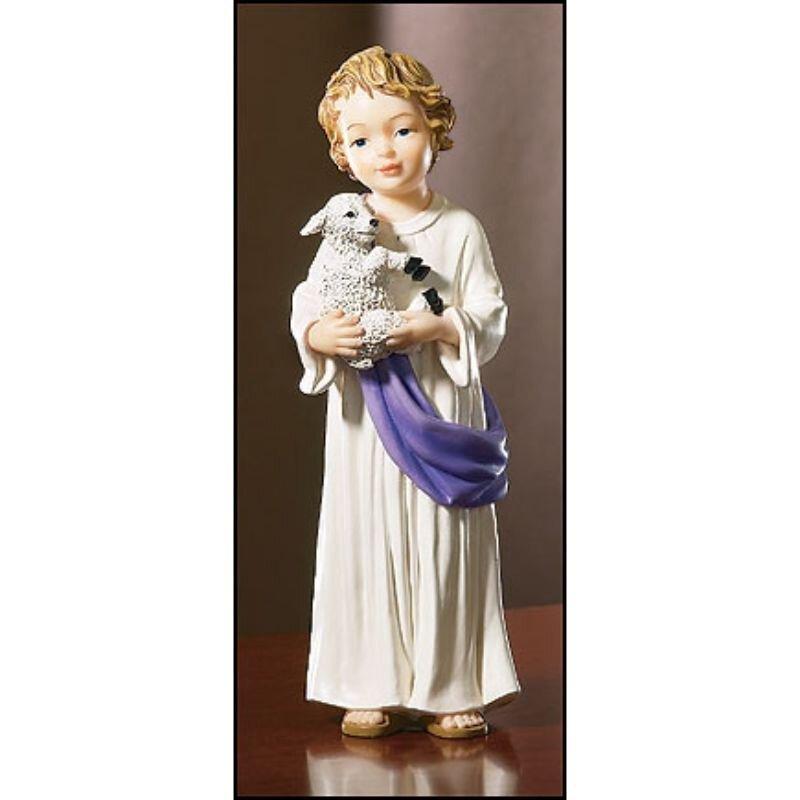 Boy Jesus with Lamb Statue