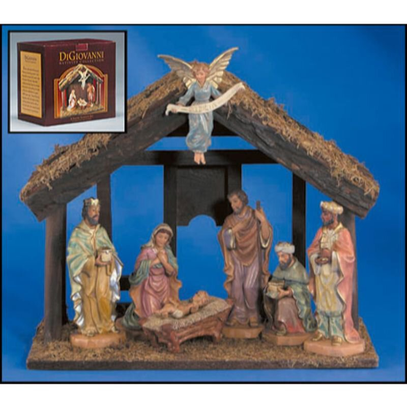 7-Pc Nativity Set with Wood Stable