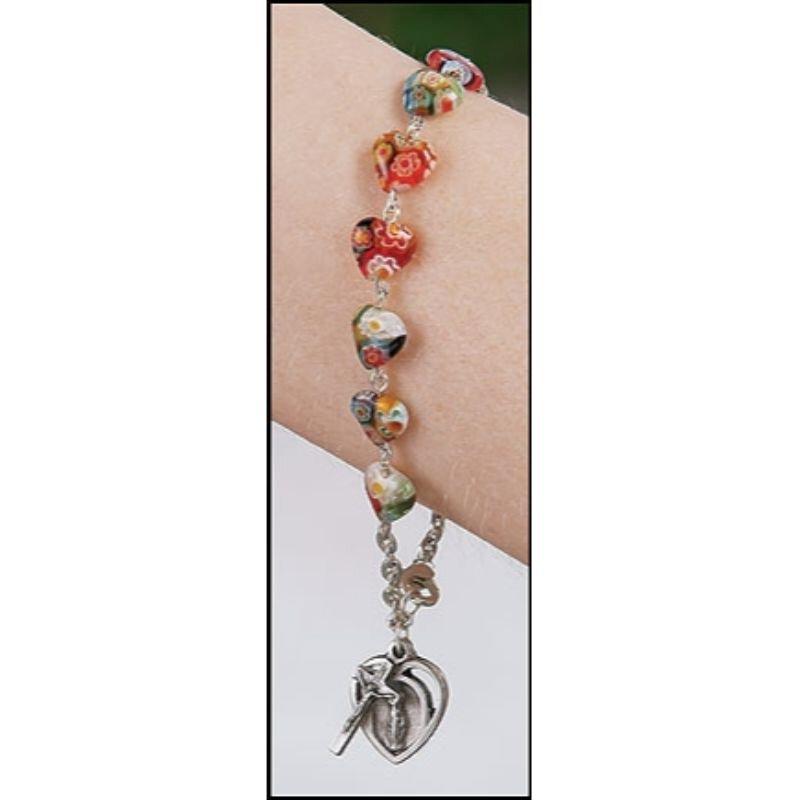 Murano Heart Rosary Bracelet