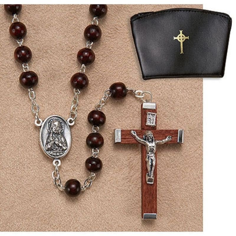 6mm Brown Wood Rosary for LS997 with Pouch