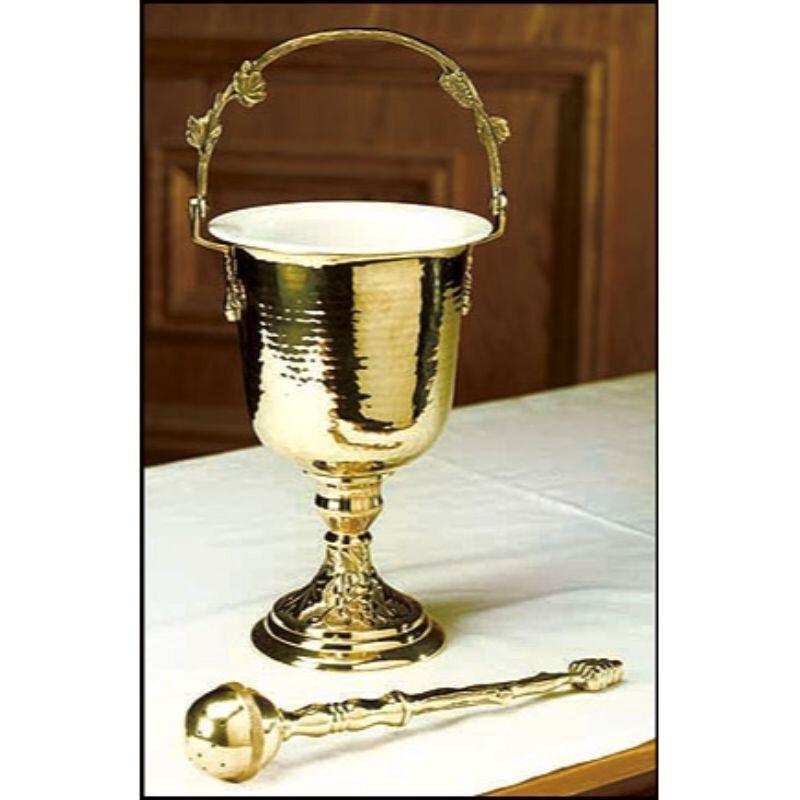Brass Hammered Holy Water Pot with Sprinkler Set