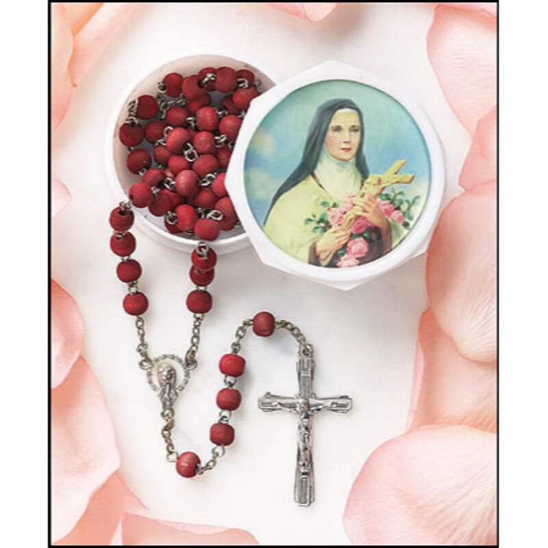 St. Therese Rose Scented Rosary with Two-Piece Case - 12/pk