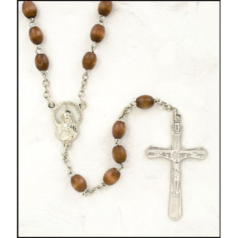 Light Brown Wood Oval Rosary