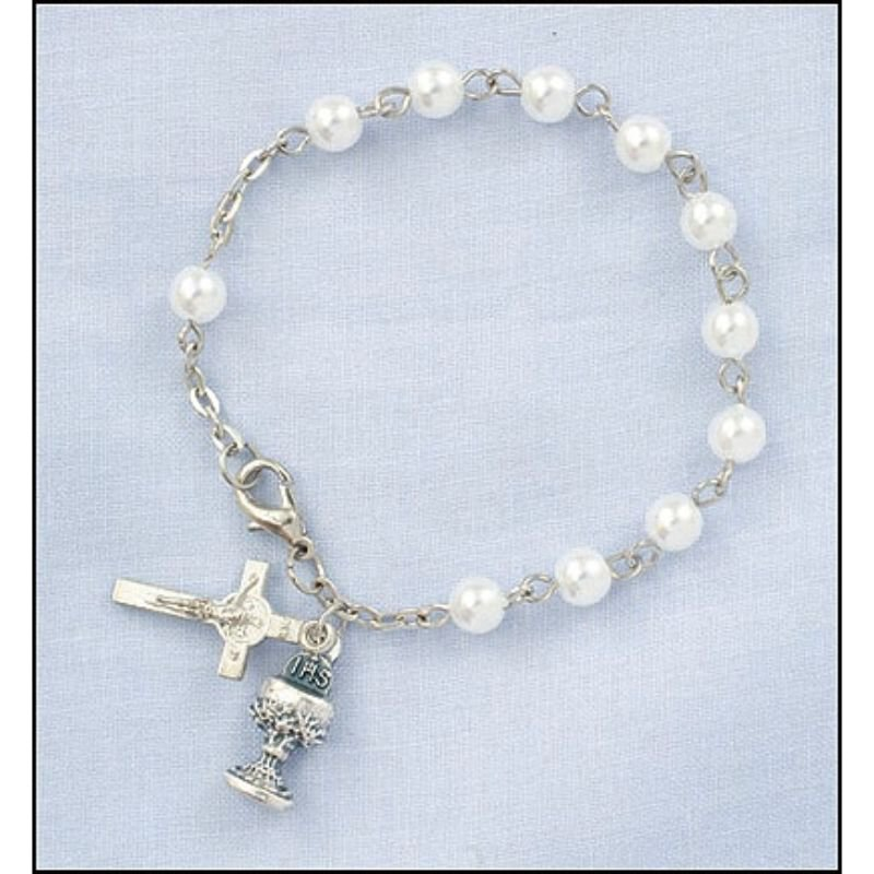 First Communion Imit. Pearl Rosary Bracelet - 12/pk