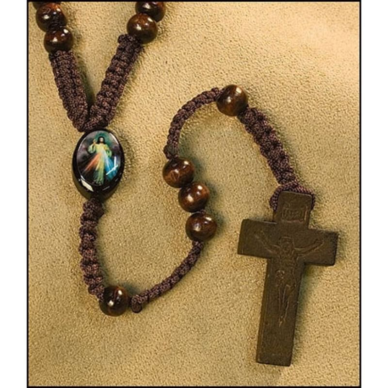 Divine Mercy Wood Rosary - 18/pk
