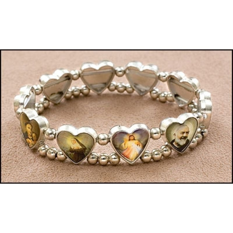 Heart Saints Medal Stretch Bracelet - 12/pk