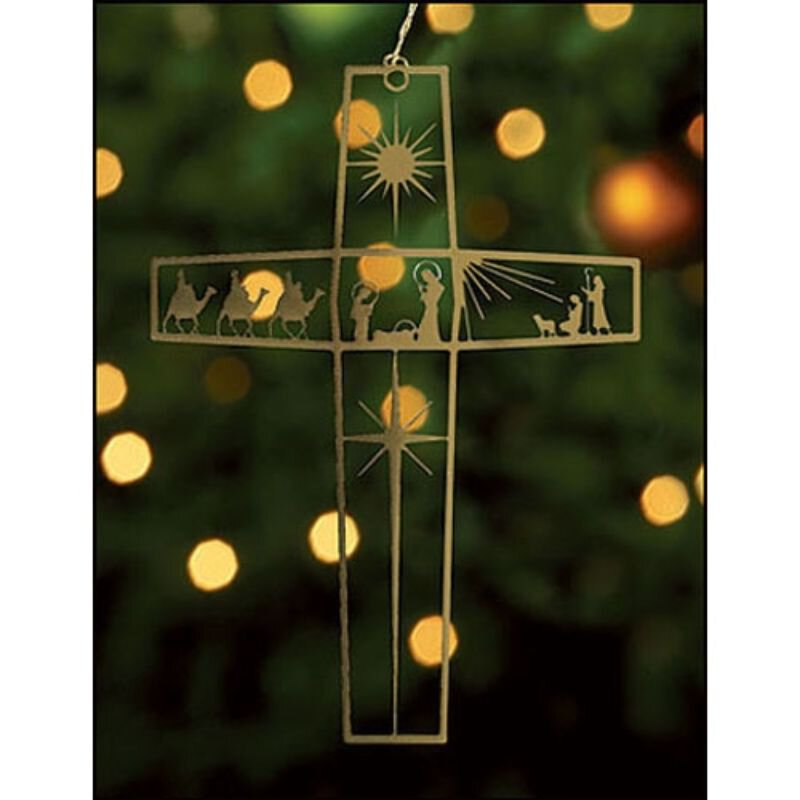 Nativity Cross Ornament - 24/pk