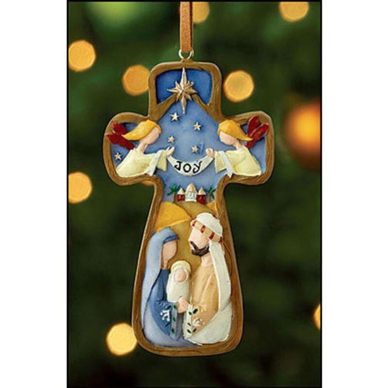 Joy Cross Ornament - 12/pk