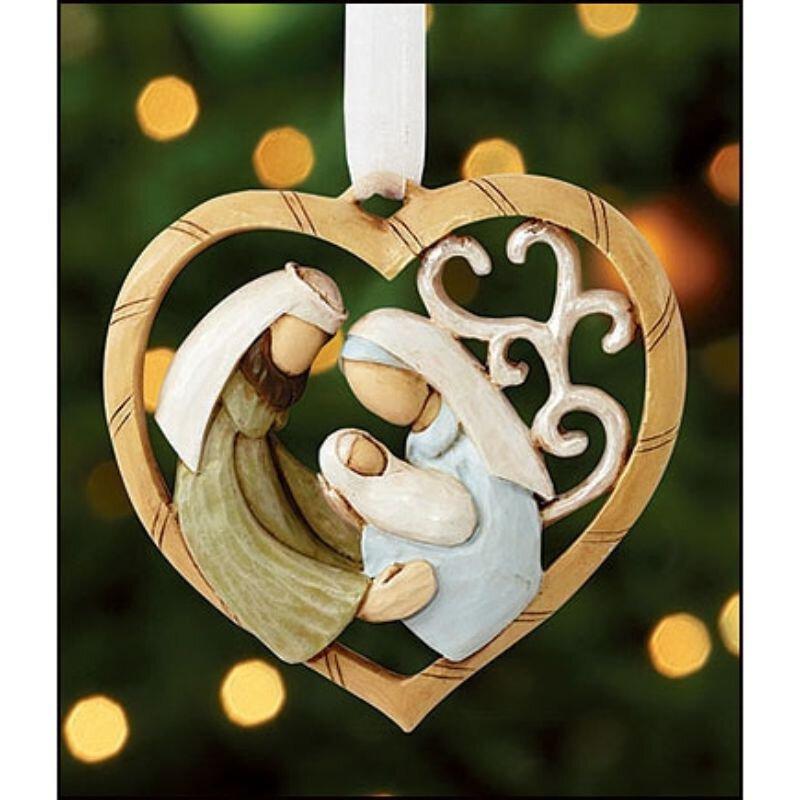 Nativity Heart Ornament - 6/pk