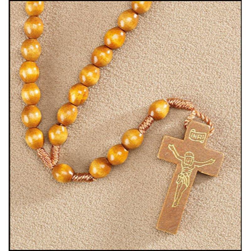 Light Brown Corded Rosary - 24/pk