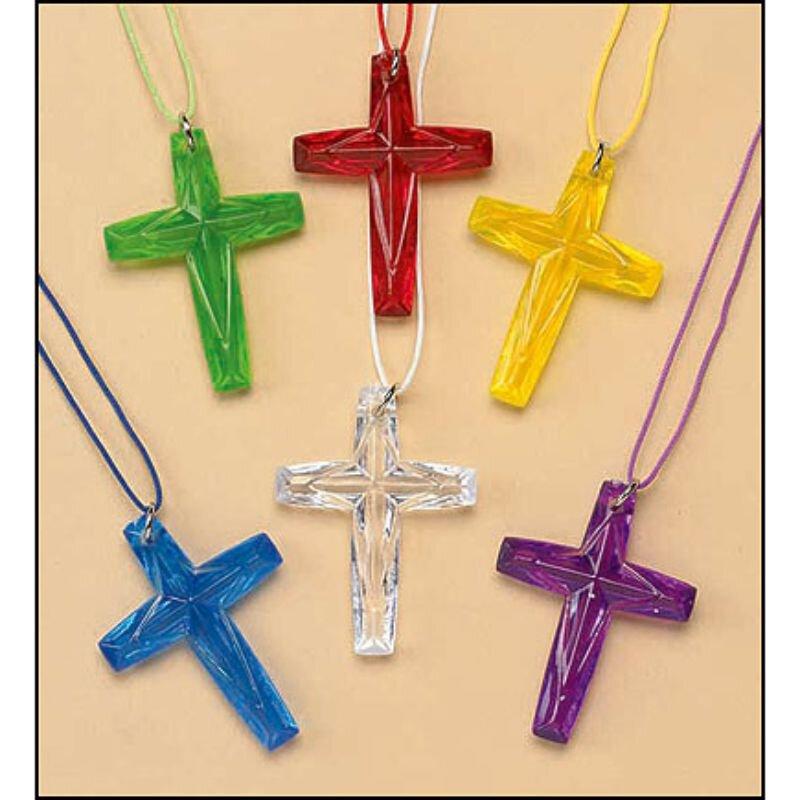 Crystal-Cut Cross Necklace Assortment (6 Asst) - 48/pk