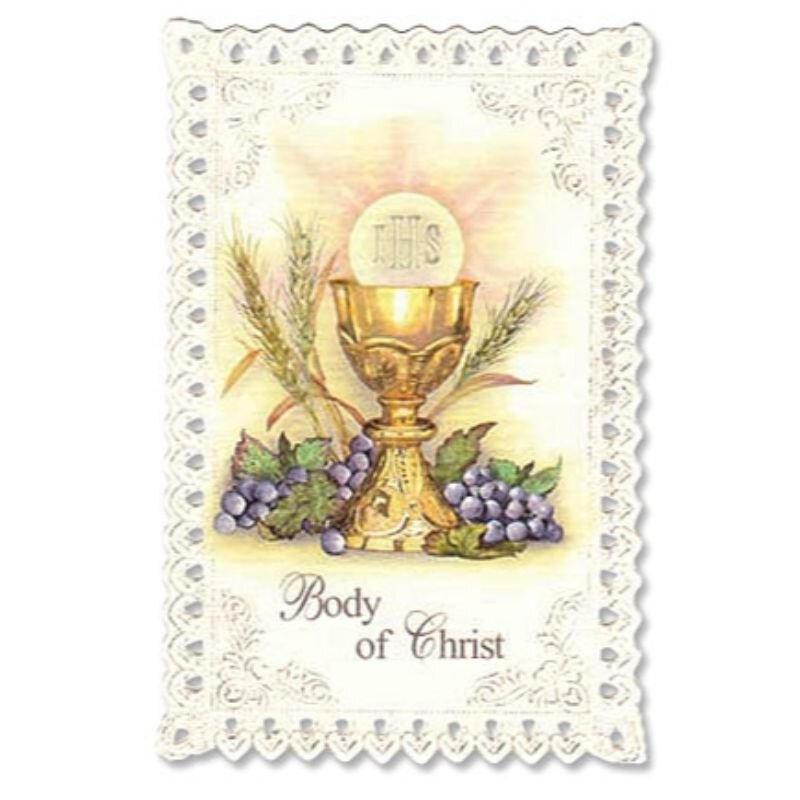 Chalice & Grapes First Communion Lace Holy Card - 24/pk