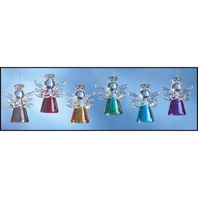 Mini Colored Glass Angel Ornament Assortment
