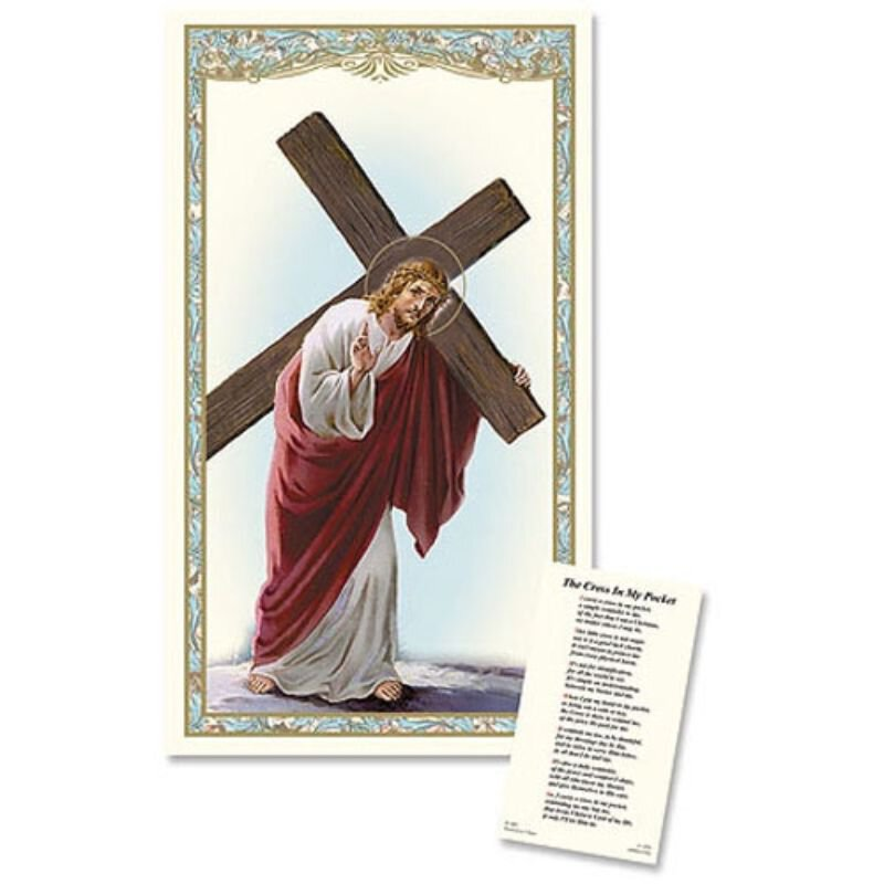 Christ with Cross Laminated Holy Card - 25/PK