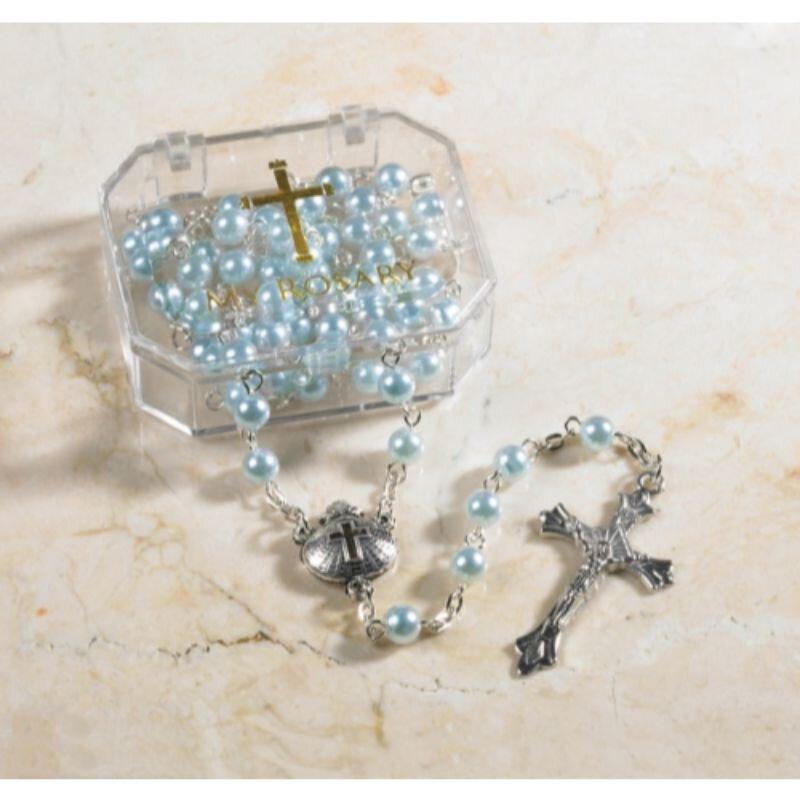 Blue Boy Baptism Rosary - 4/pk