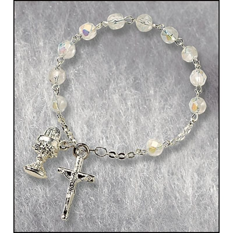 First Communion Crystal Rosary Bracelet - 12/pk