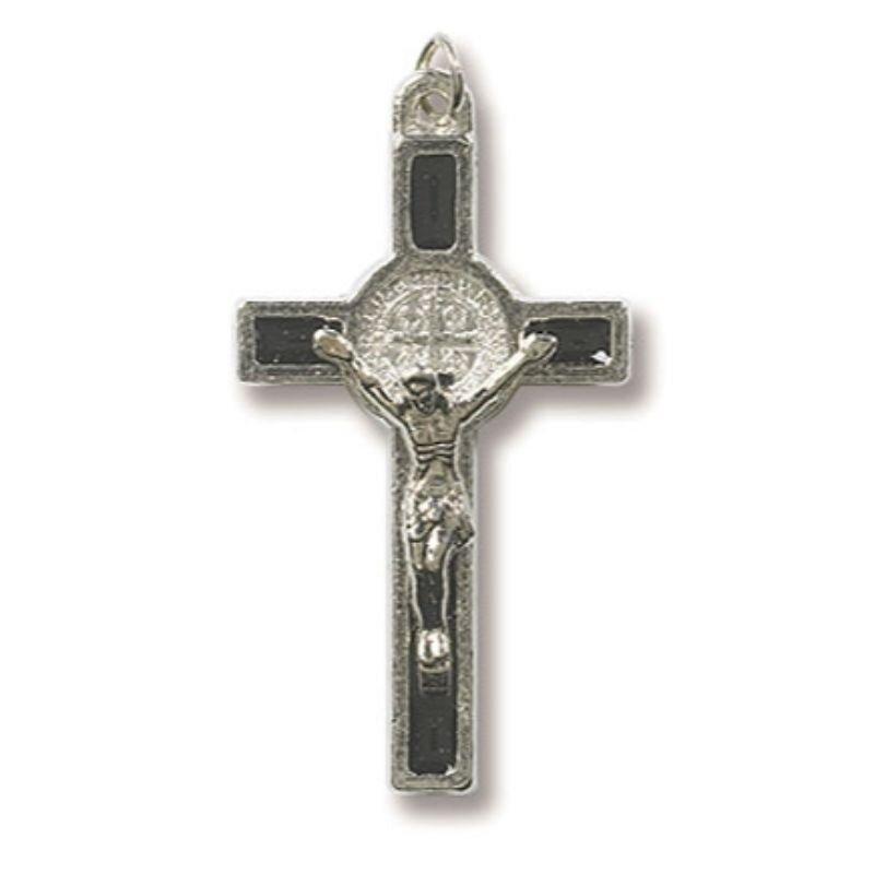 Black St. Benedict Enamel Crucifix - 50/PK