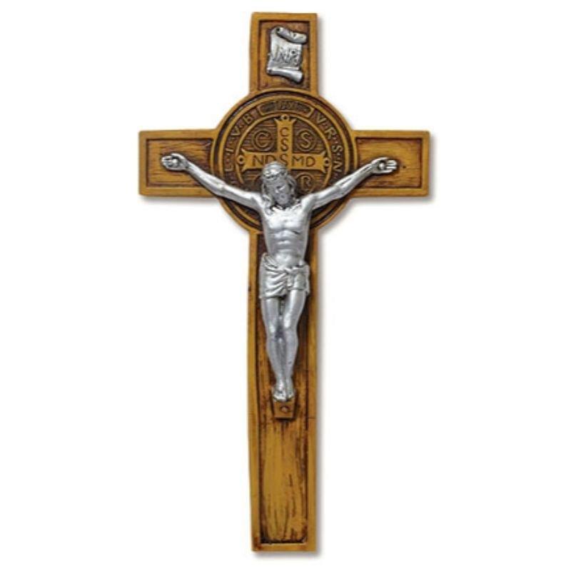 Woodtone St Benedict Wall Crucifix - 3/PK
