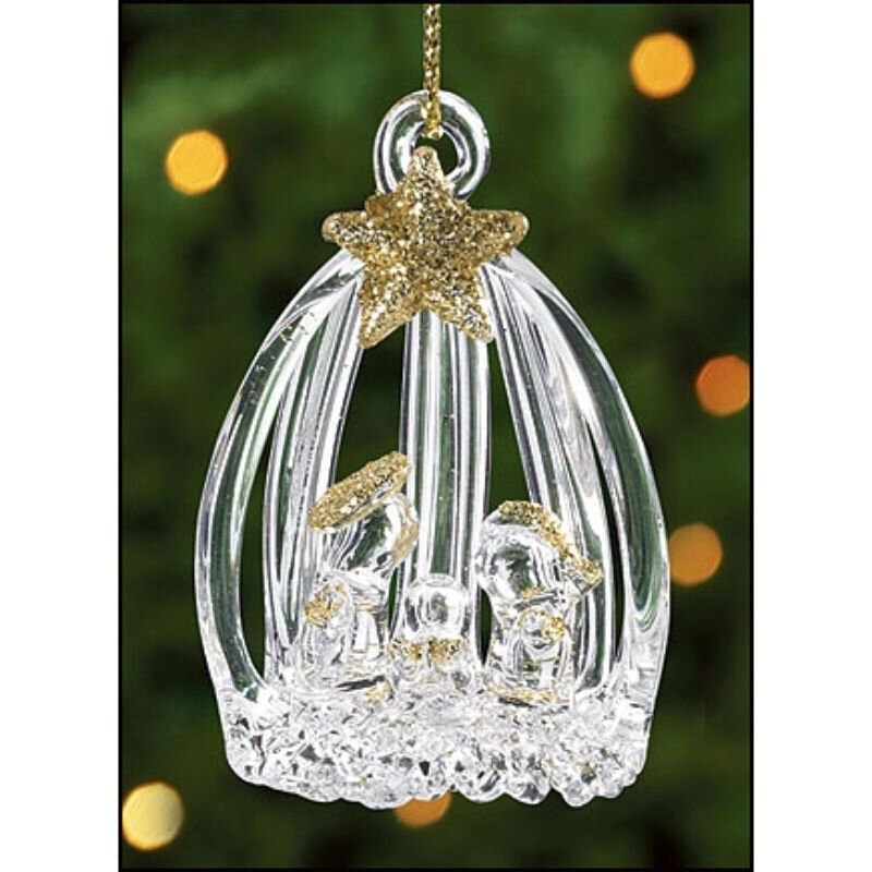 Spun Glass Open Slat Nativity Ornament - 12/pk
