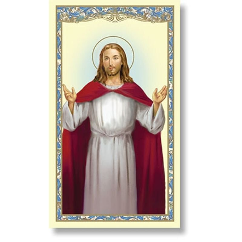 Blessing Christ Holy Card (Lord's Prayer) - 100/pk