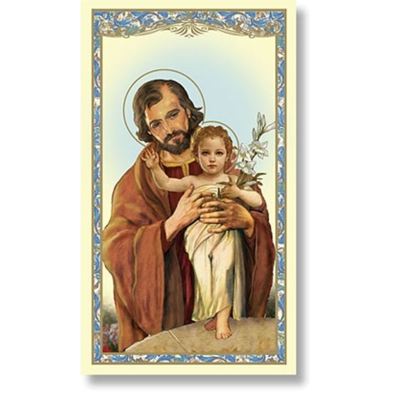 St. Joseph with Child Holy Card (Memorare to St. Joseph) - 100/pk