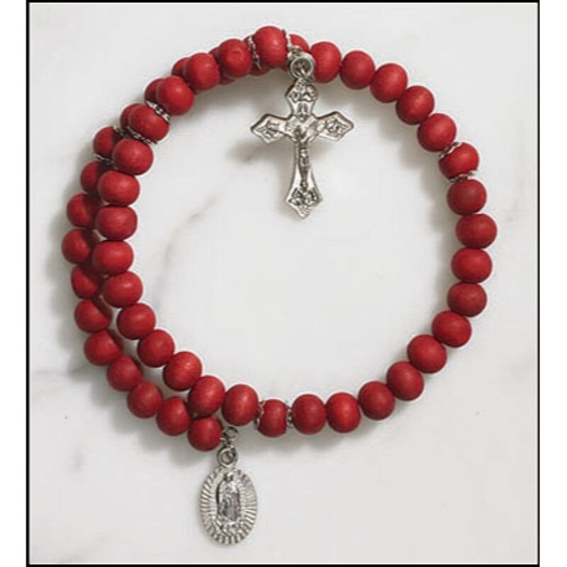 Our Lady of Guadalupe Rose Scented Wrap Style Rosary Bracelet - 24/pk