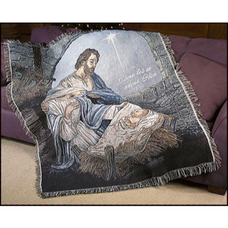 Come Let Us Adore Him Nativity Throw