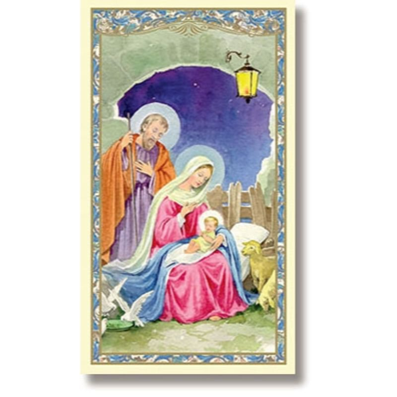 Nativity, Luke 2:6-7 Christmas Holy Cards - 100/pk