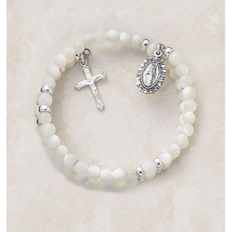 Creed® Mother of Pearl Wrap Around 5 Decade Rosary Bracelet