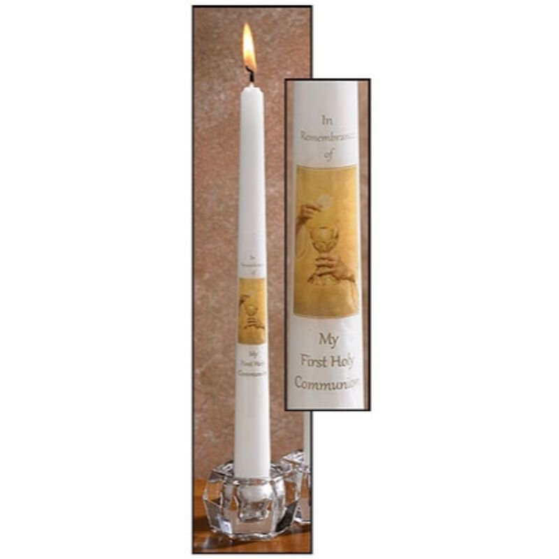 Eternal Salvation First Communion Taper Candle - 24/pk