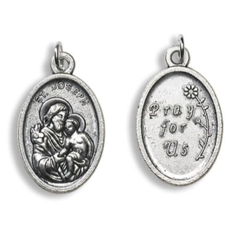 St. Joseph with Child, Pray for Us Devotional Saint Medal - 50/pk