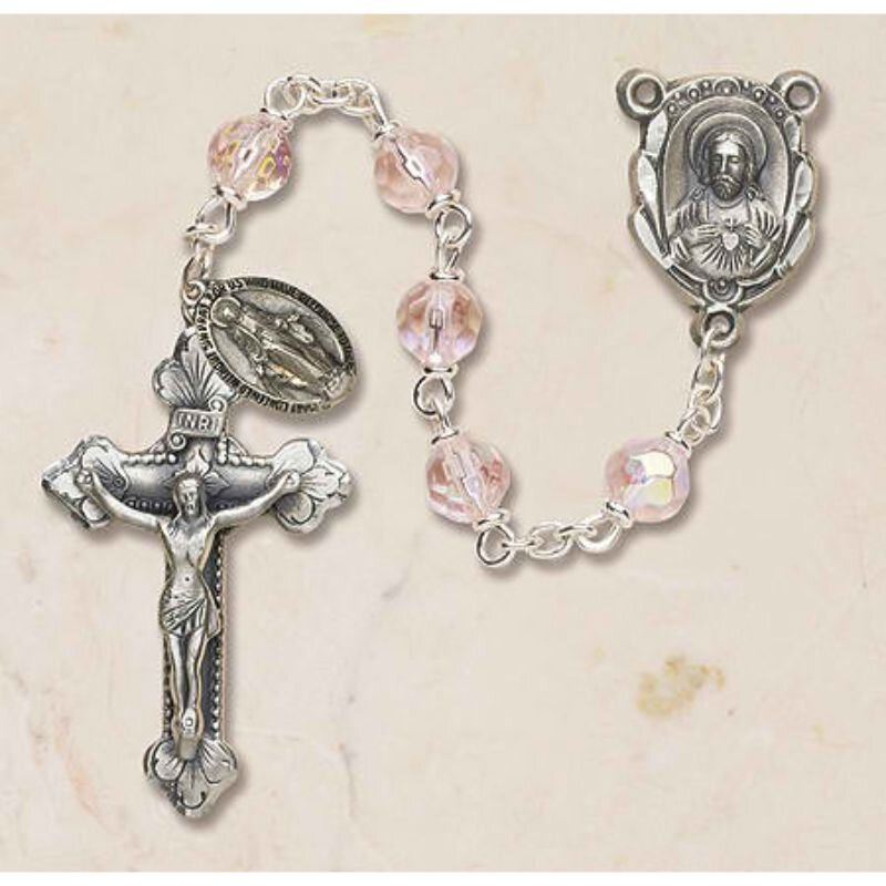 Prague Collection 6 mm AB Crystal Rosary - Rose