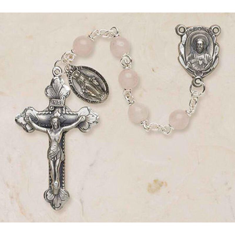 Genuine Rose Quartz Italian Semi-Precious Rosary