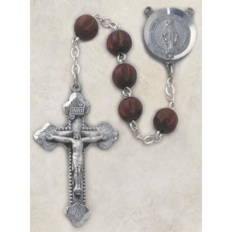 Men's Italian Dark Brown Wood Rosary