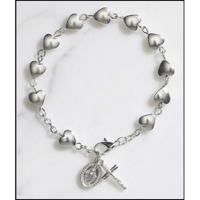 Heart Rosary Bracelet - 12/pk