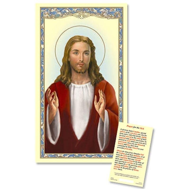 Christ Blessing Laminated Holy Card - 25/pk