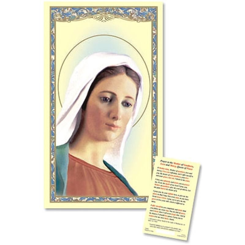 Our Lady of Medjugorje Laminated Holy Card - 25/pk
