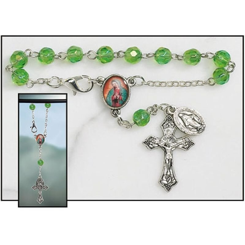 Our Lady of Guadalupe Rearview Mirror Rosary - 12/pk