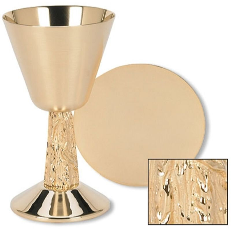 Satin Cup with Hand Cast Vine Stem Chalice and Paten Set