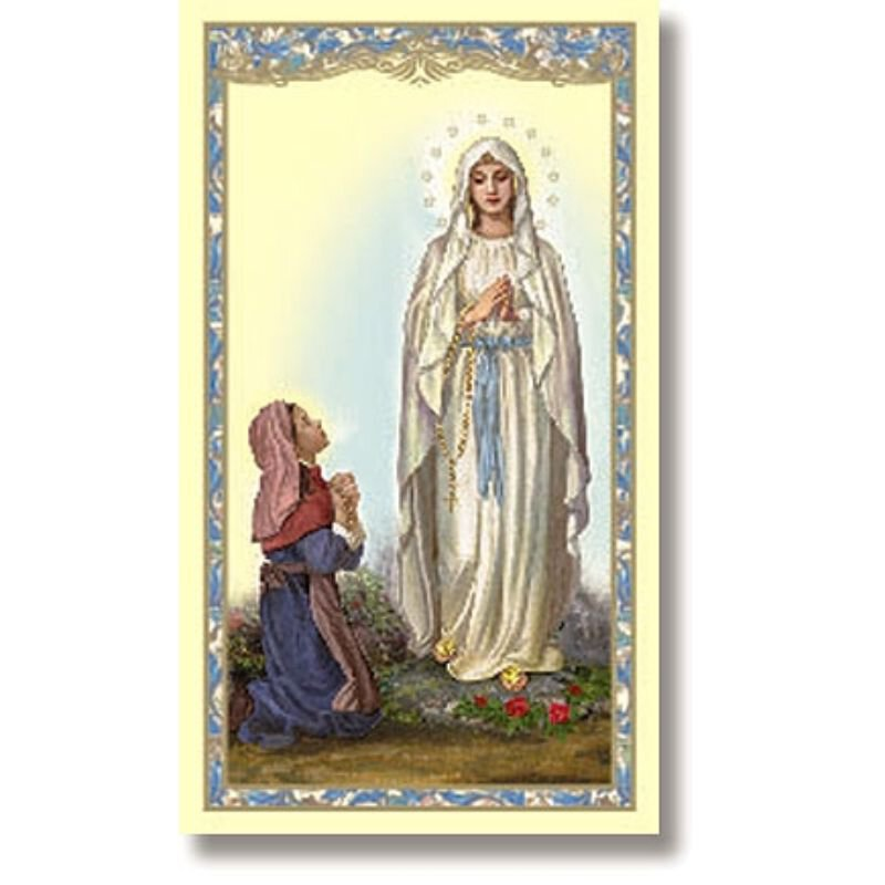 Our Lady of Lourdes Holy Card - 100/pk