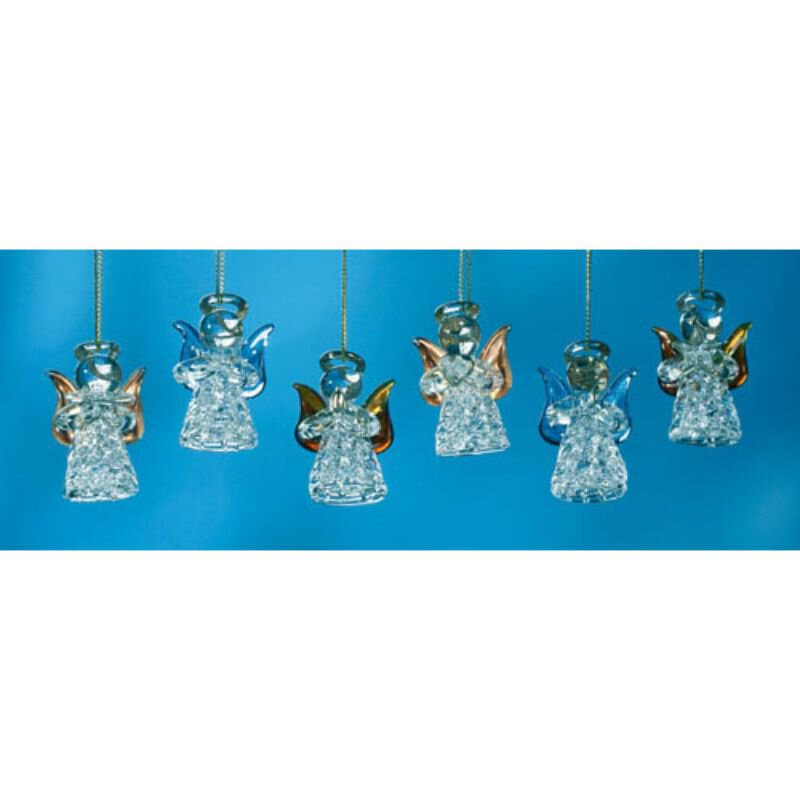 Colorful Spun Glass Angel Ornament Assortment