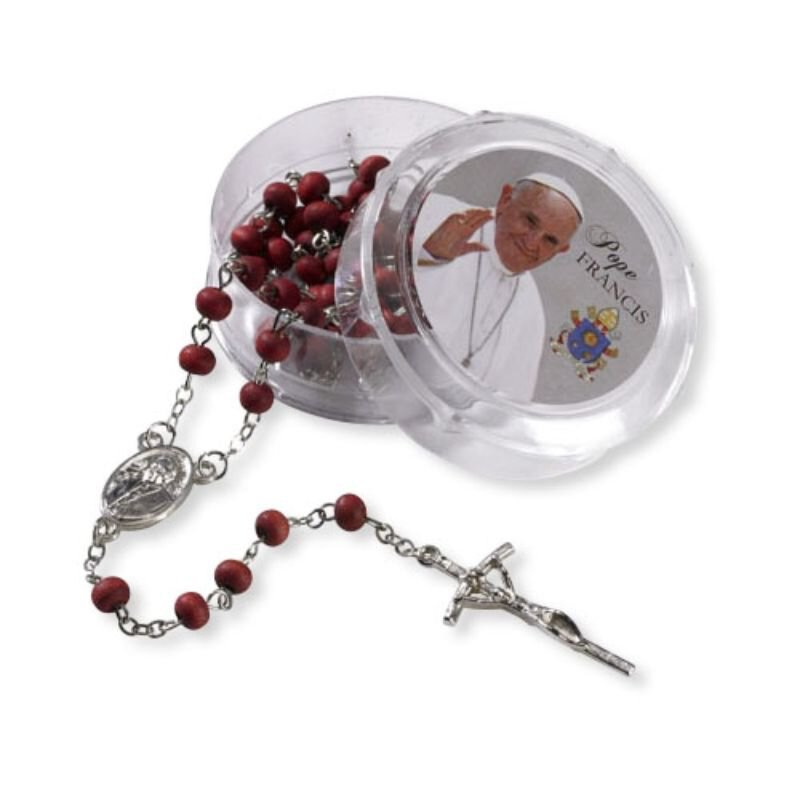 Pope Francis Rose Scented Rosary with Two-Piece Case - 12/pk