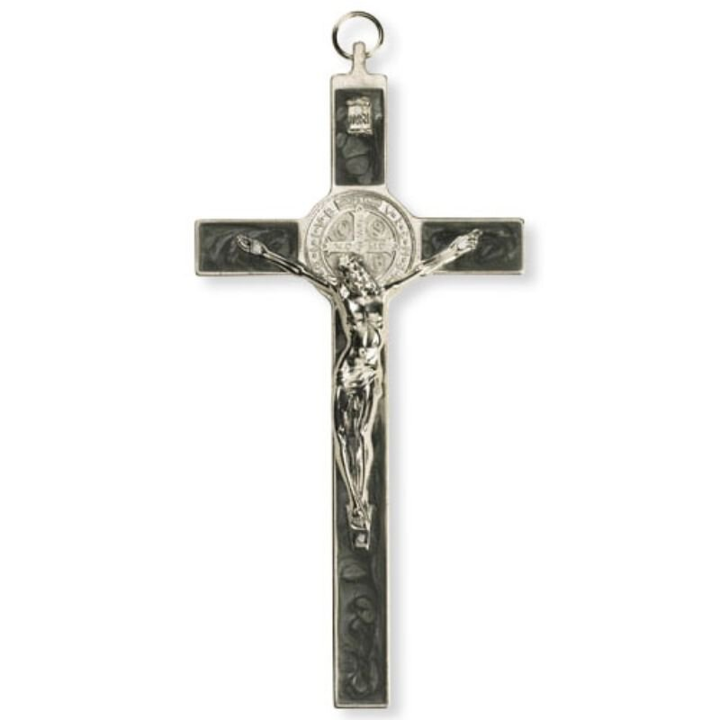 Pearlized Black St. Benedict Wall Crucifix