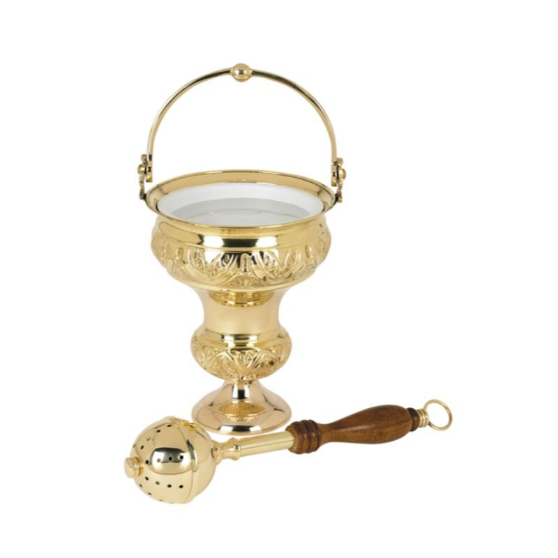 Ornate Holy Water Pot with Sprinkler Set