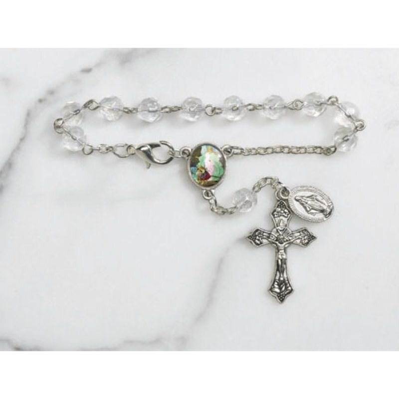 Guardian Angel Faceted Glass Auto Rosary - 12/pk