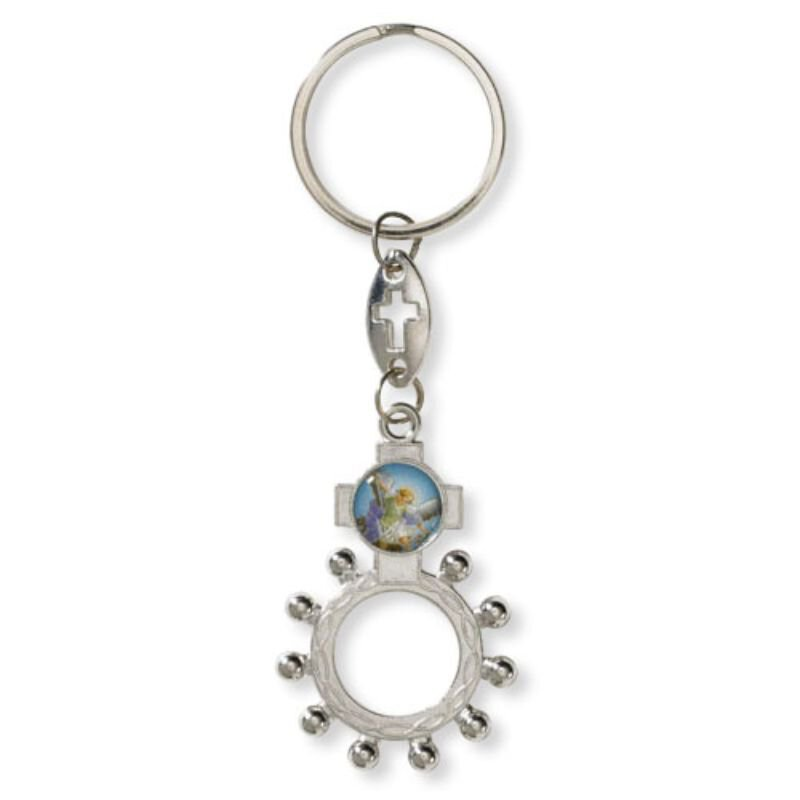 St. Michael Rosary Ring Key Chain - 24/pk